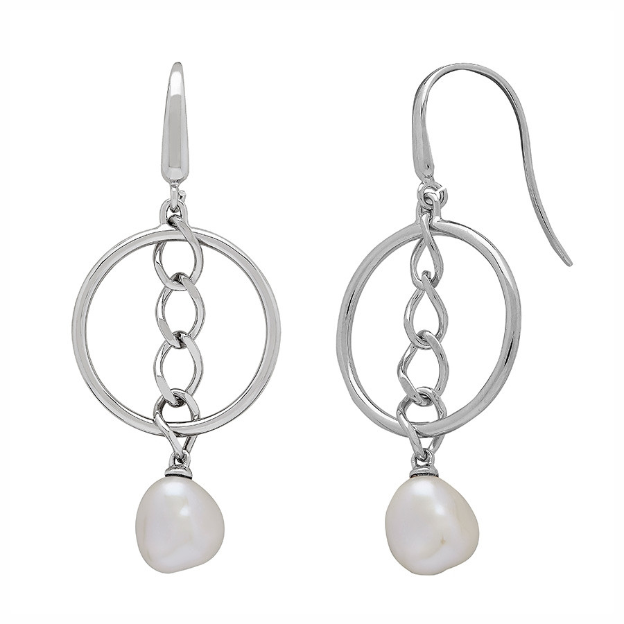 Honora White Baroque Curb Appeal Pearl & Silver Hoop Drop Earrings