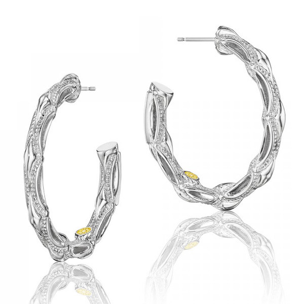 Tacori 18K925 Classic Rock Small Hoop Earrings