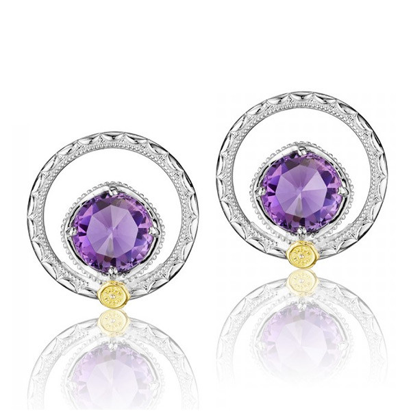 Tacori 18K925 Lilac Blossoms Purple Amethyst 7mm Round Earrings