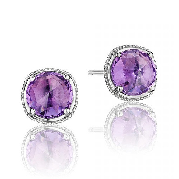 Tacori 18K925 Silver Stud Earrings Pave Diamonds Purple Amethyst