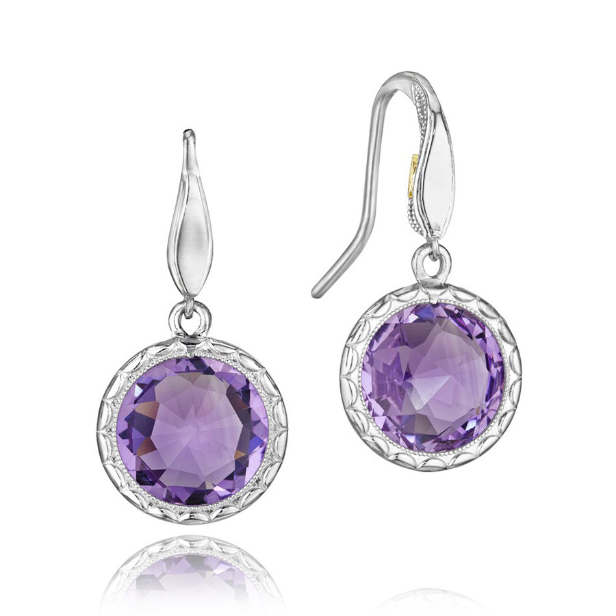 Tacori Amethyst Silver Drop Lilac Blossoms Earrings