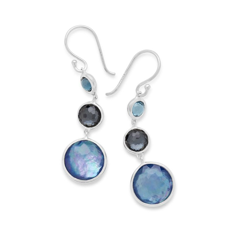 IPPOLITA Silver Lollipop Three Stone Eclipse Blue Dangle Earrings