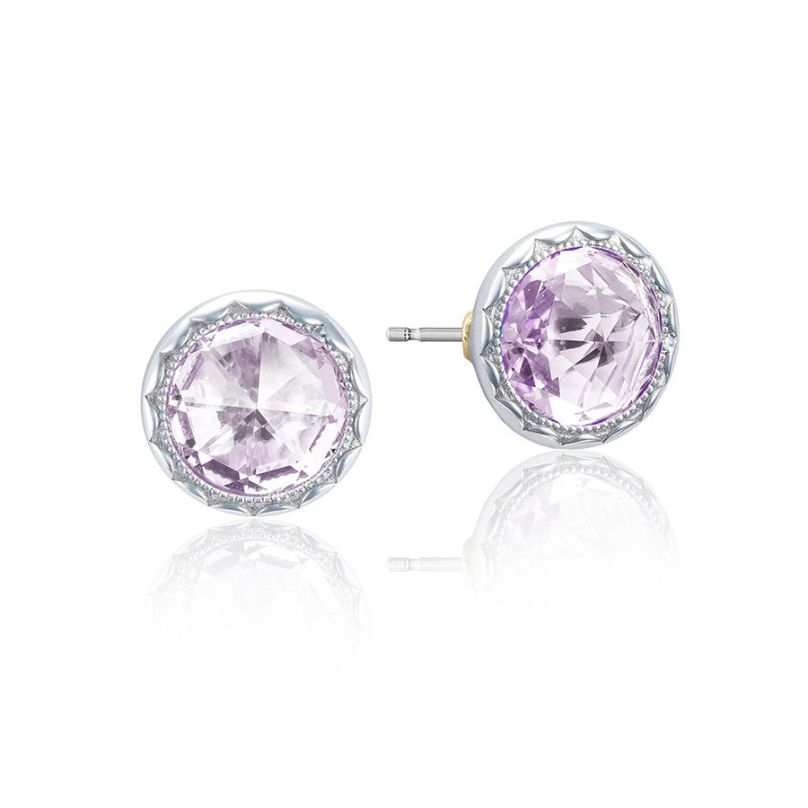 Tacori Rose Amethyst Bezel Stud Lilac Blossoms Earrings