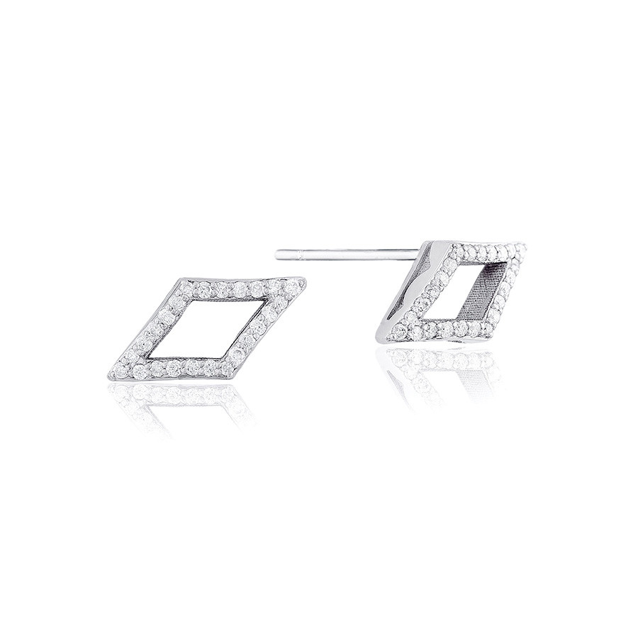 Tacori Silver Diamond Chevron Stud The Ivy Lane Earrings