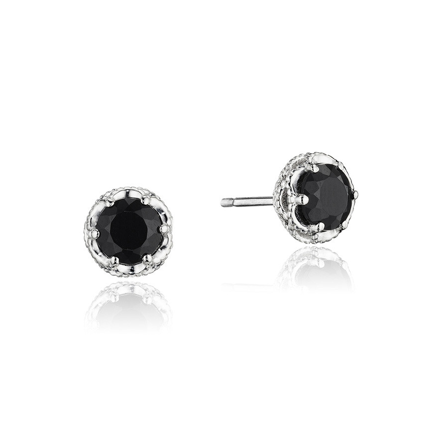 Tacori Petite Black Onyx Crescent Crown Classic Rock Stud Earrings