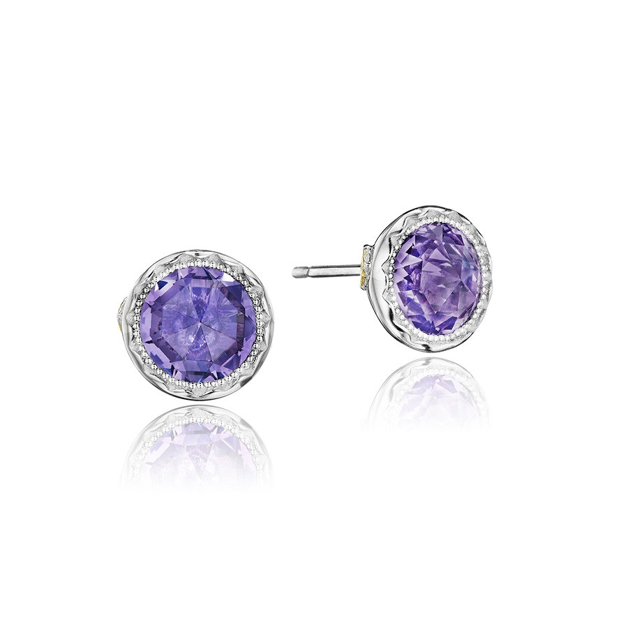Tacori Silver Petite Rose Amethyst Bezel Lilac Blossoms Stud Earrings