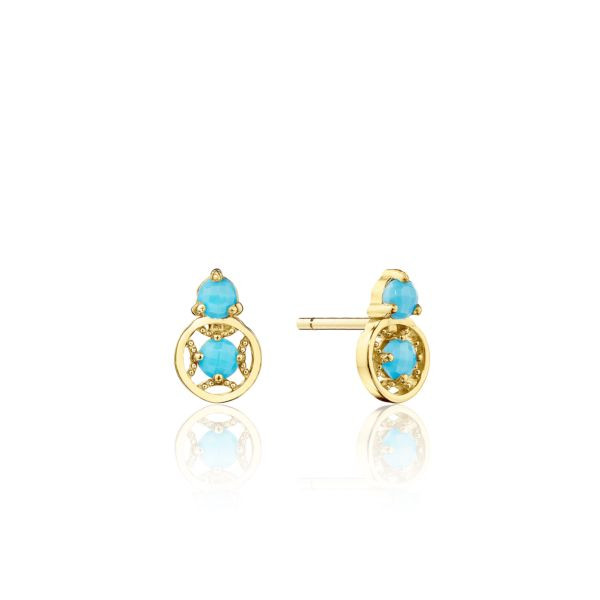 Tacori Petite Gemstone Turquoise Stud Earrings in 14K Yellow Gold