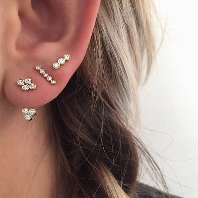 Zoe Chicco Small Yellow Gold Quad Diamond Studs on Model