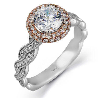 Simon G MR2133 Passion Halo with Scroll Engagement Ring