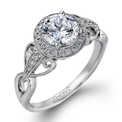 Simon G Embrace Scroll Halo Engagement Ring