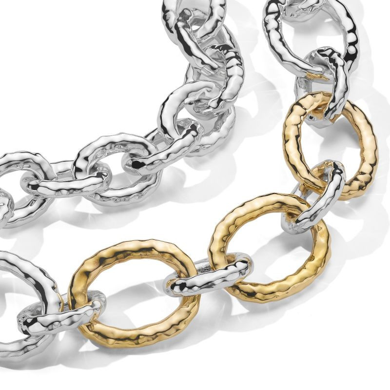 IPPOLITA Chimera Bastille Gold and Silver Link Necklace close up