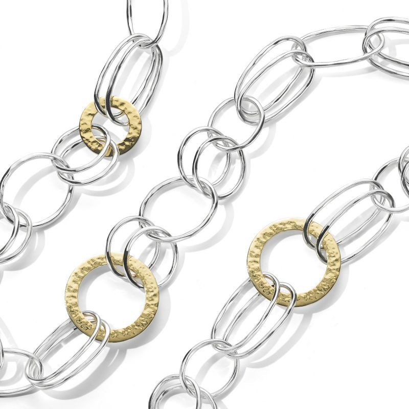 IPPOLITA Chimera Classico Gold and Silver Hammered Link Necklace close up