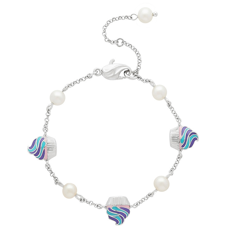 Honora Girls Cupcake & Pearl Tin Cup Bracelet