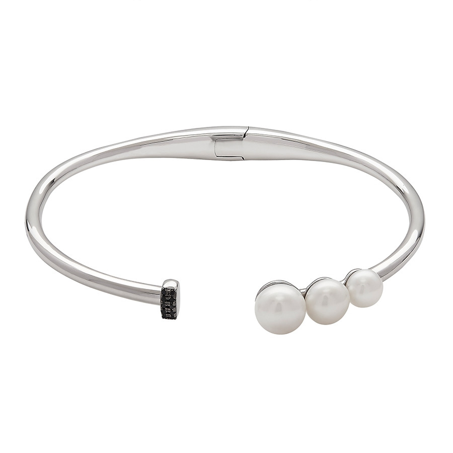 Honora Noir Silver Triple Button Pearl Bangle Bracelet