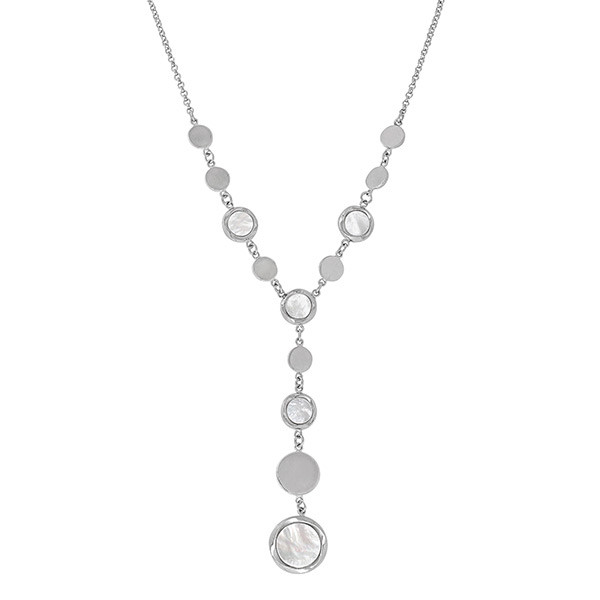 Honora White Mother of Pearl Station Lariat Necklace