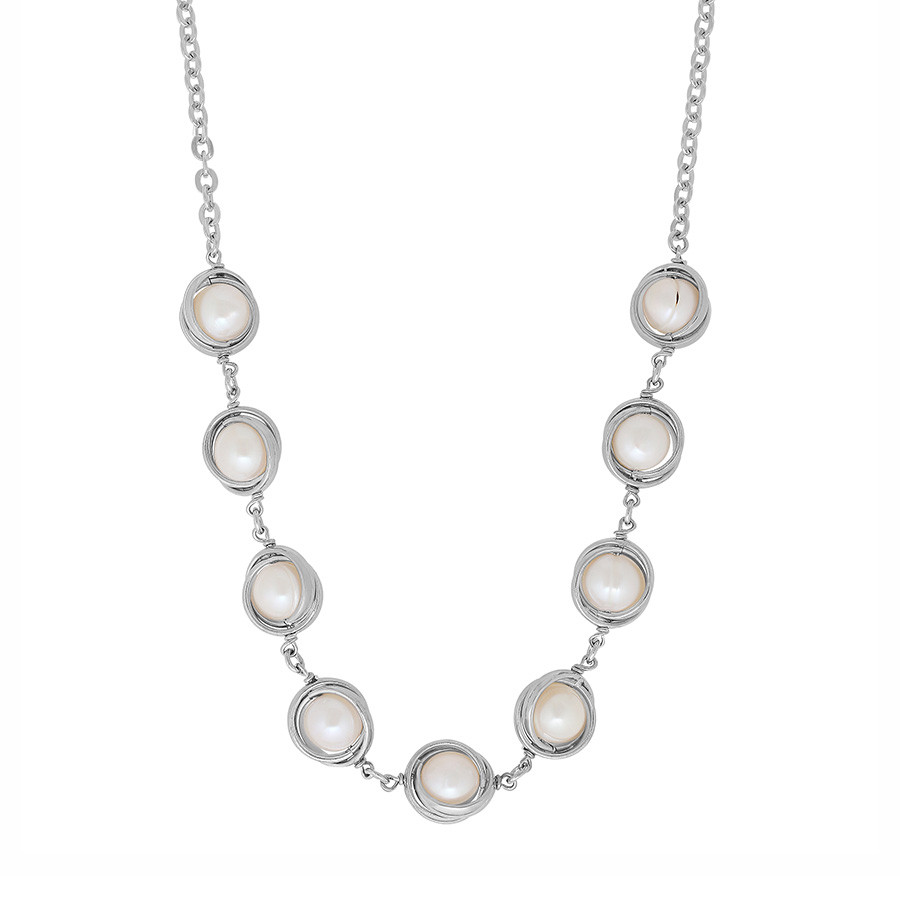 Honora Silver Lining Knot of Love Pearl Station Circle Necklace