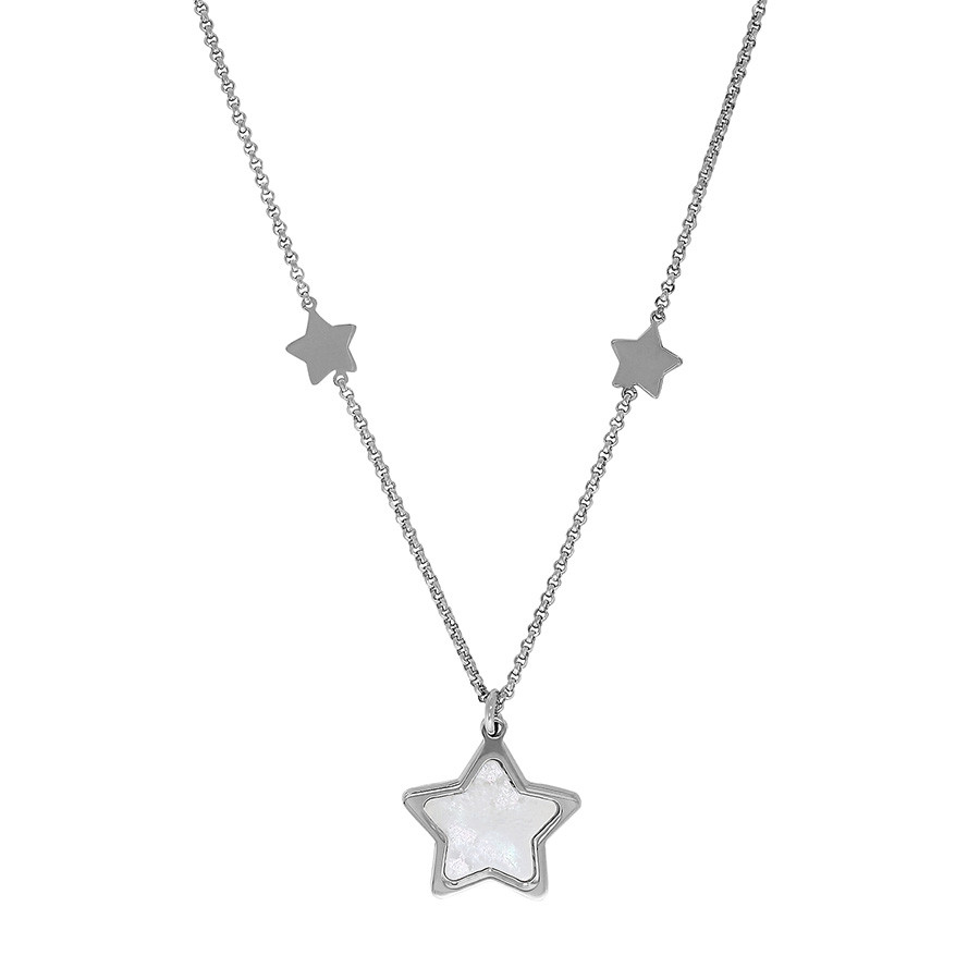 Honora Girls White Mother of Pearl Star Pendant Station Necklace