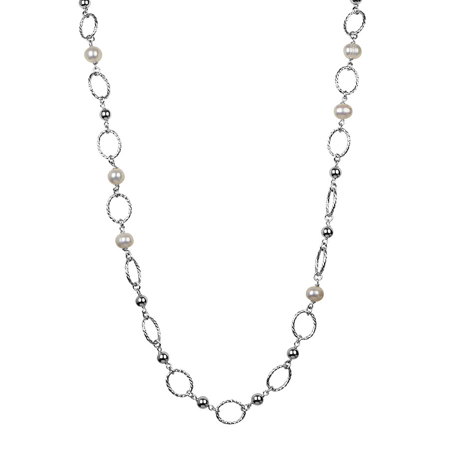 Honora Chain Reaction Long Silver Twist Pearl Tin Cup Necklace