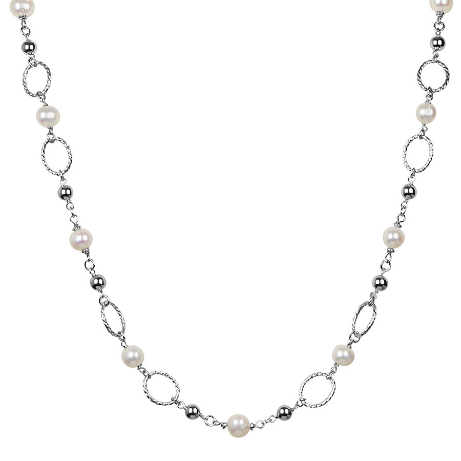 Honora Chain Reaction Silver Twist Pearl Tin Cup Necklace