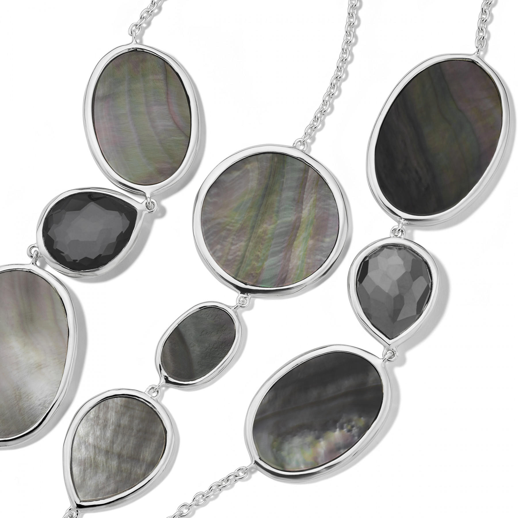 Ippolita Ondine Quartz and Hematite Station Necklace in Silver