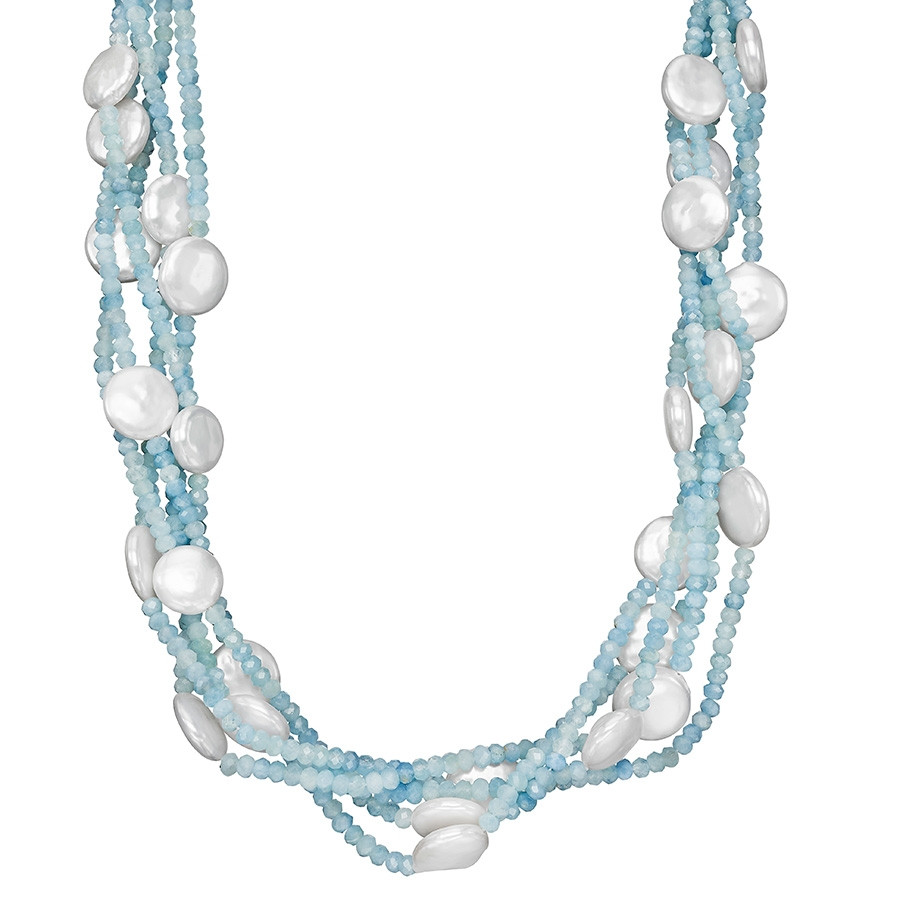 Honora 4 Row Solstice Aquamarine & White Coin Pearl Station Necklace