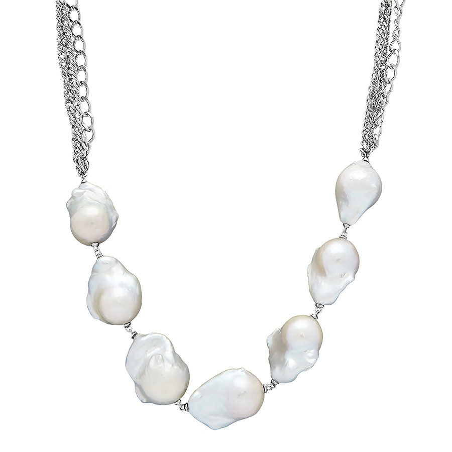 Honora Curb Appeal White Pearl Three Row Silver Chain Necklace