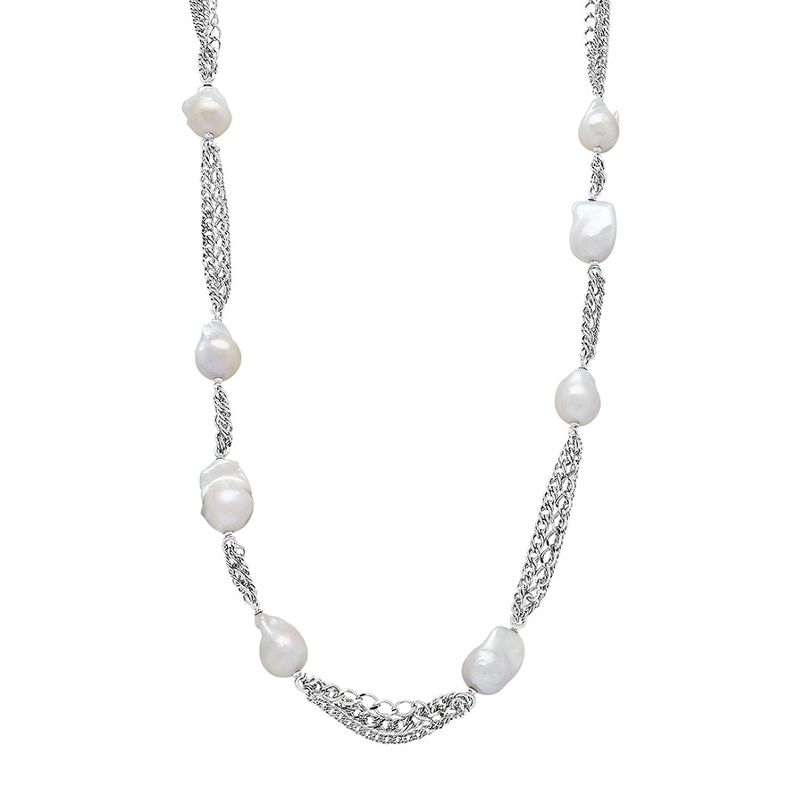 Honora Curb Appeal White Pearl Tin Cup Necklace