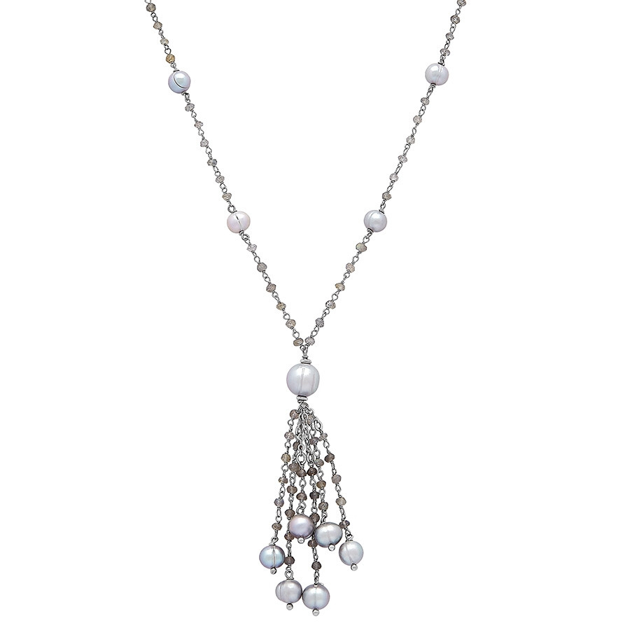 Honora After Dark Gray Pearl & Labradorite Tassel Necklace