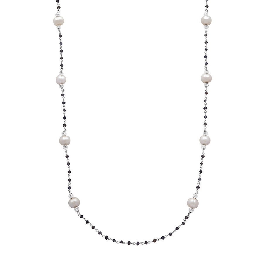 Honora Iolite & White Pearl Station Tin Cup After Dark Necklace
