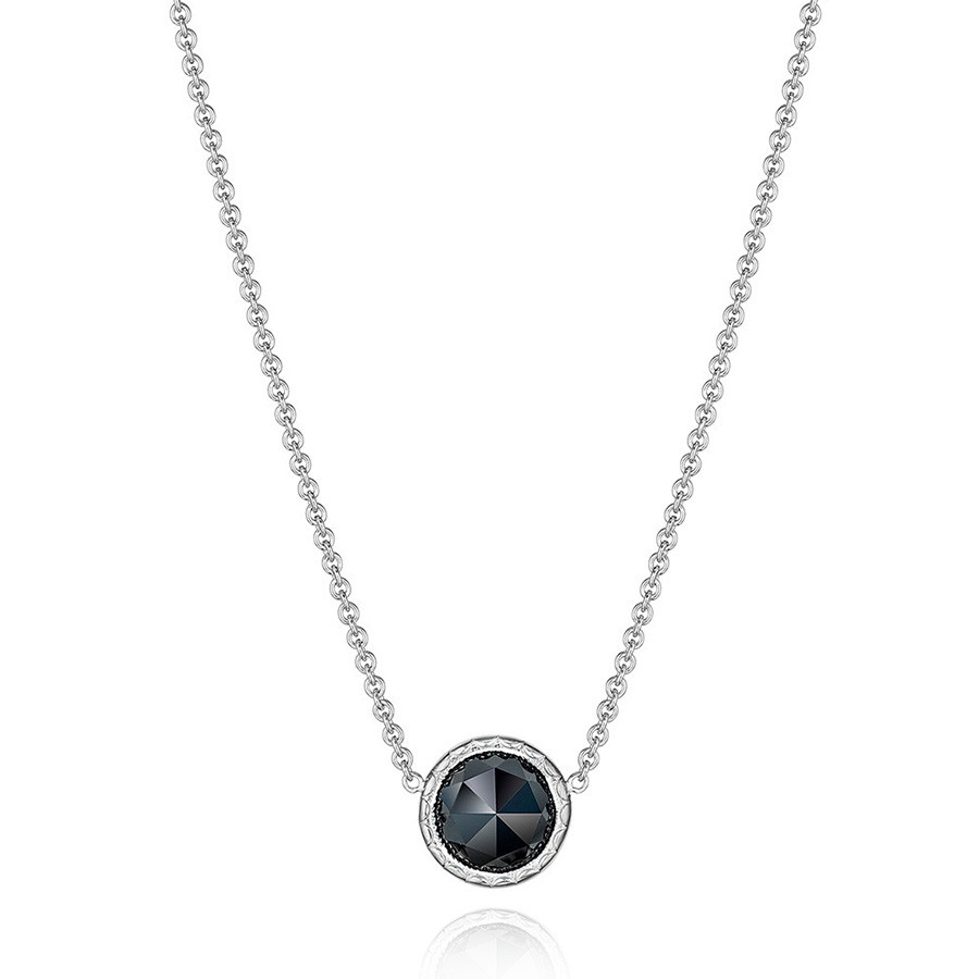 Tacori Black Onyx Floating Bezel Pendant Classic Rock Necklace