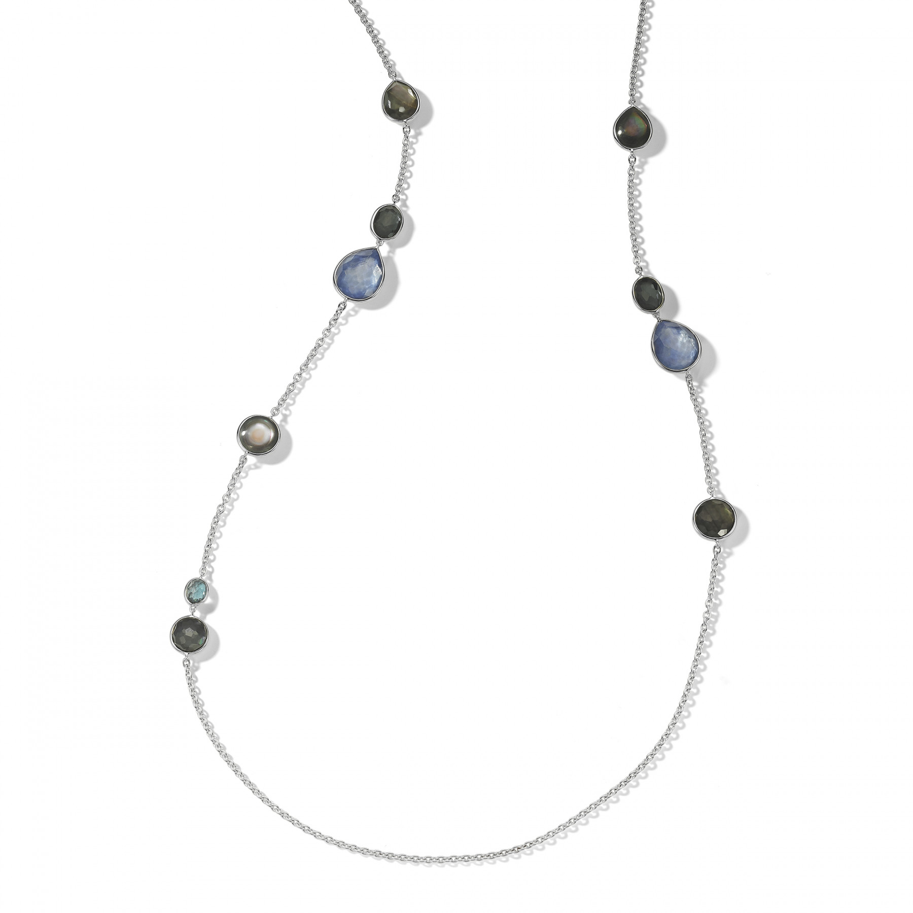 IPPOLITA Silver Rock Candy Long Eclipse Blue Station Necklace