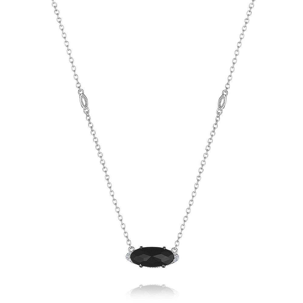 Tacori Black Onyx & Diamond Horizon Shine Oval Pendant Necklace