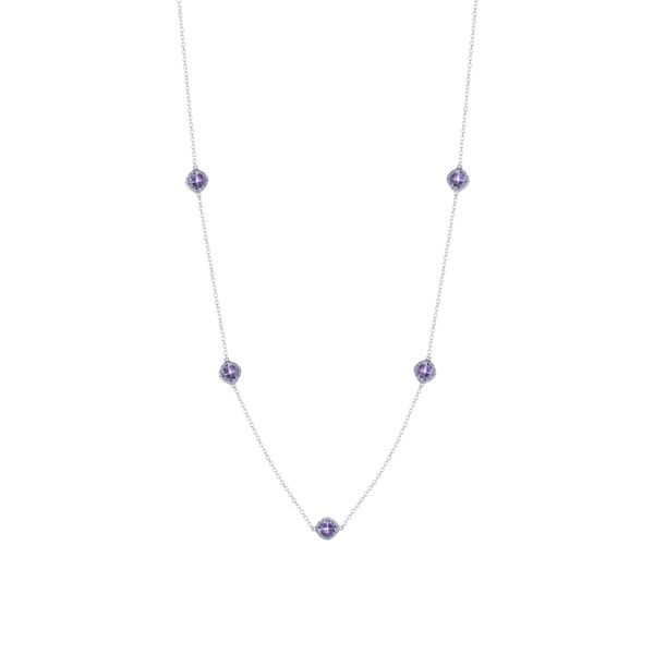 Tacori Crescent Embrace Amethyst Station Necklace in Sterling Silver