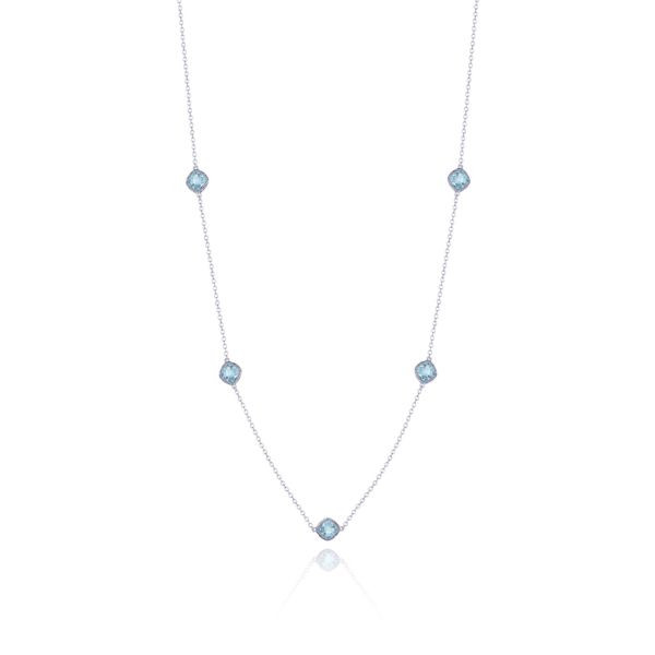 Tacori Crescent Embrace Sky Blue Topaz Station Necklace in Sterling Silver