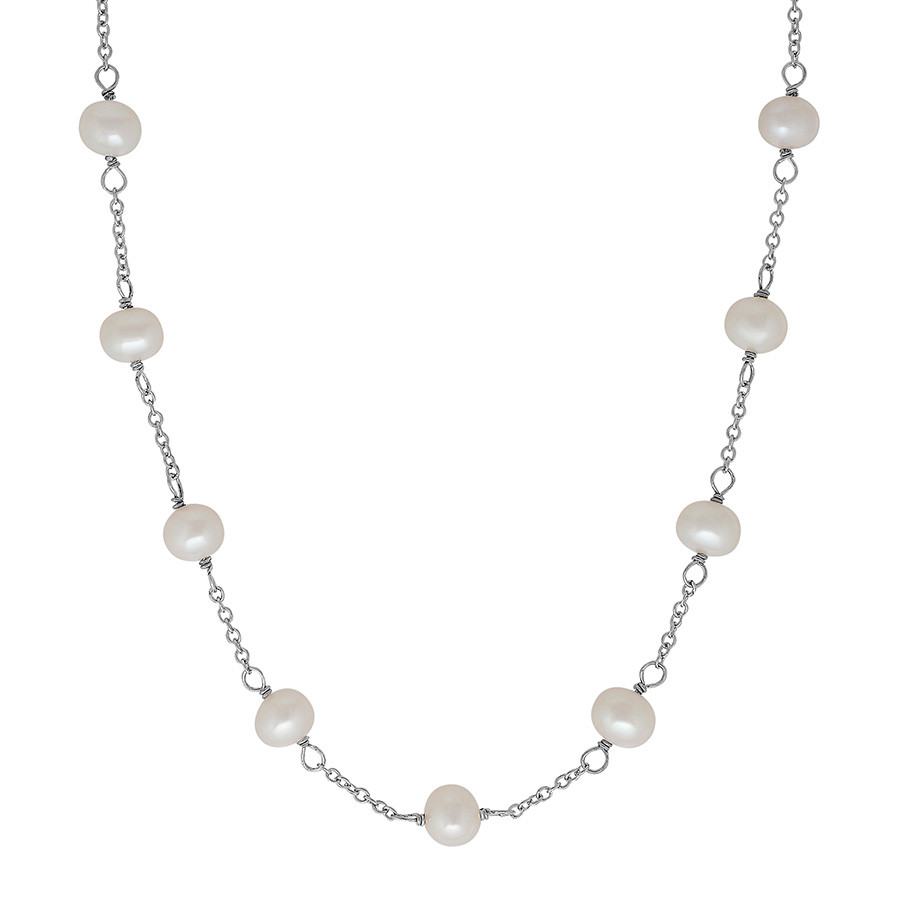 Honora Girls White Potato Pearl Tin Cup Station Necklace