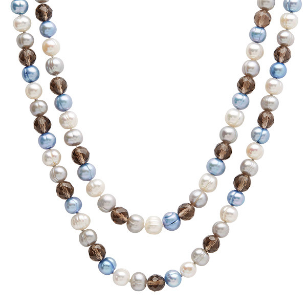 "Honora Smokey Quartz & Potato Pearl 36"" Vitality Necklace"