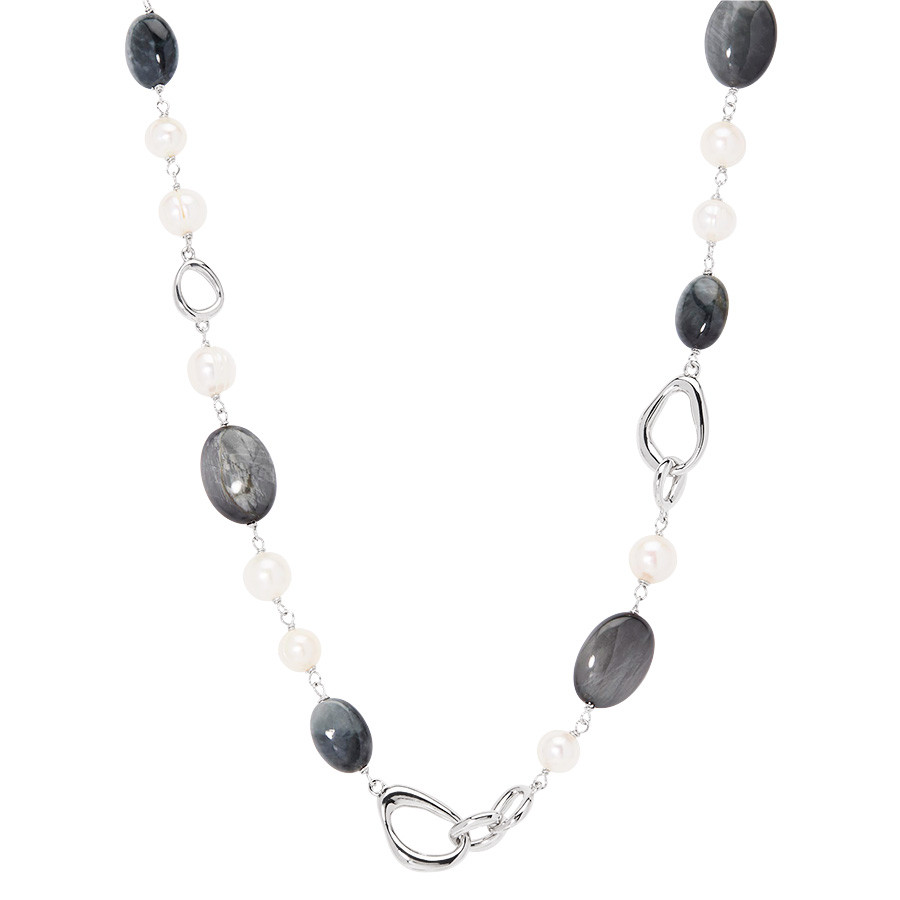 Honora River Rocks Freshwater Pearl & Gemstone Station Necklace