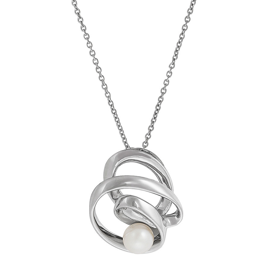 Honora Rare Forms Silver Twist Circle Pearl Pendant Necklace