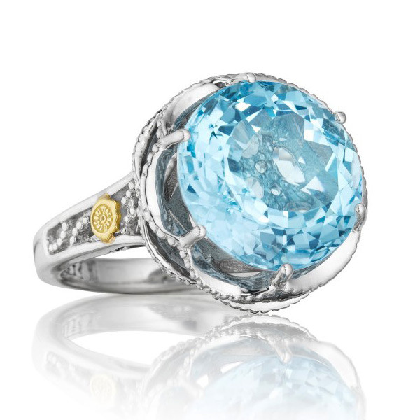 Tacori 18K925 Sterling Silver Ring with Sky Blue Topaz Center Stone