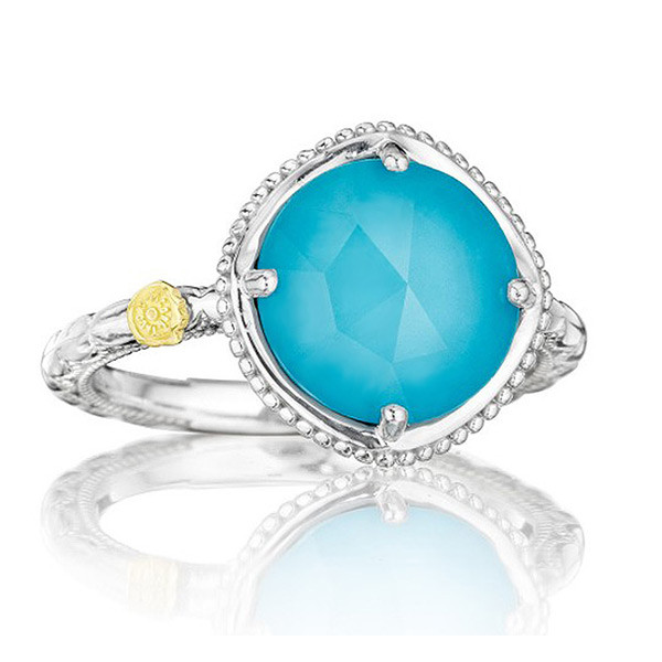 Tacori 18K925 Stackable Ring with Clear Quartz over Neolite Turquoise