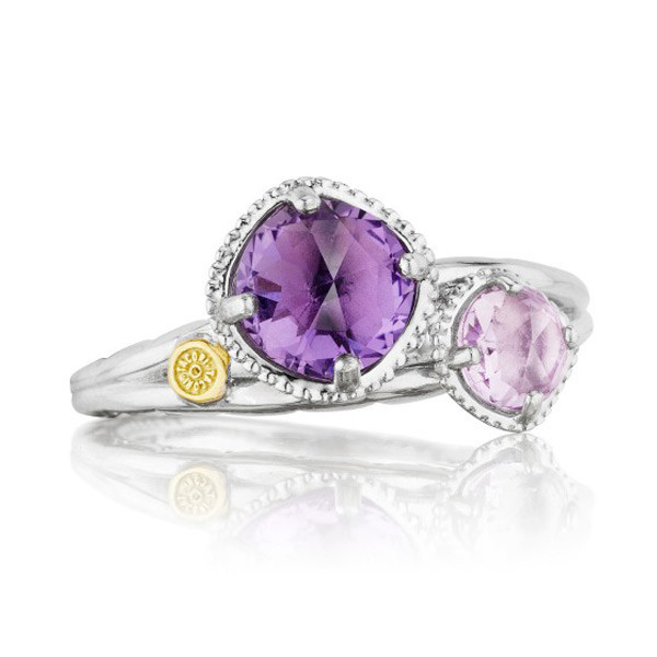 Tacori 18K925 2 Stone Rose Amethyst & Purple Amethyst Ring