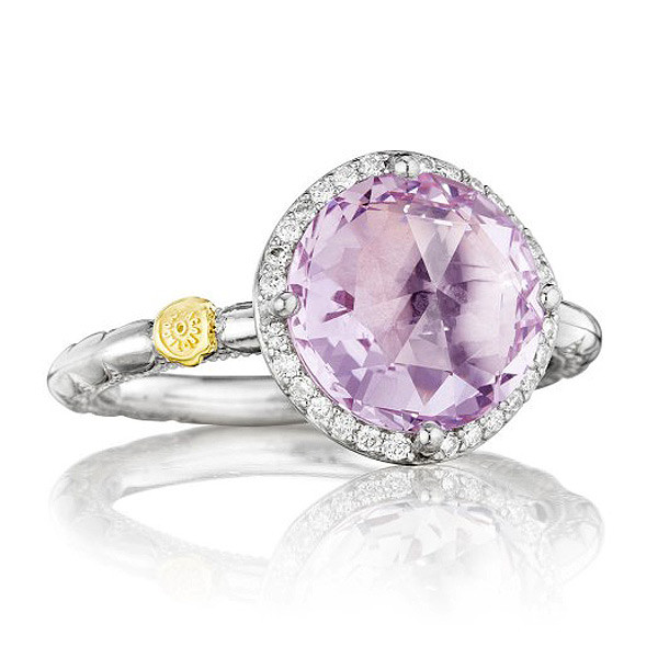 Tacori 18K925 Diamond Halo Ring with Rose Amethyst