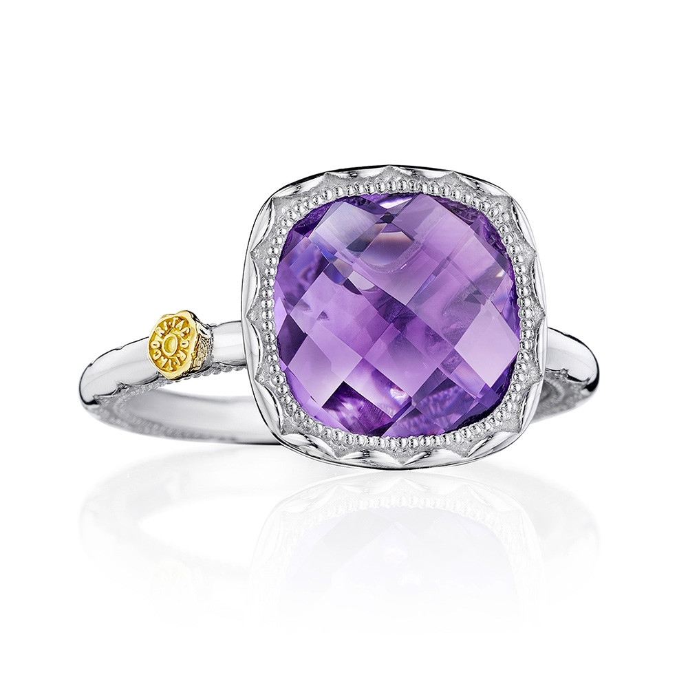 Tacori Amethyst Cushion Cocktail Crescent Embrace Ring