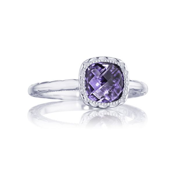 Tacori Crescent Embrace Cushion Amethyst Ring in Sterling Silver