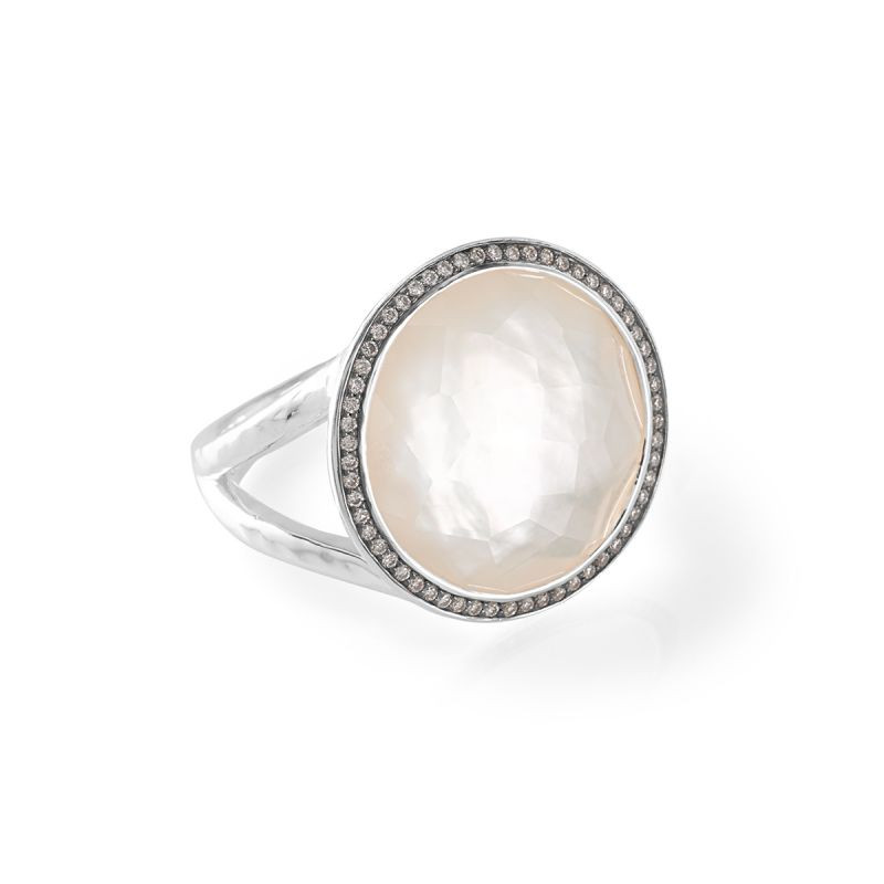 IPPOLITA Silver Lollipop Mother of Pearl and Diamond Ring