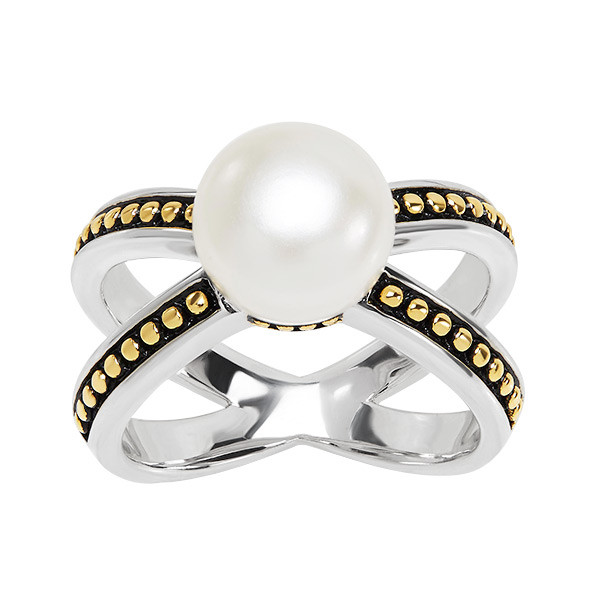 Sterling Silver & Yellow Gold Pearl Cross Ring
