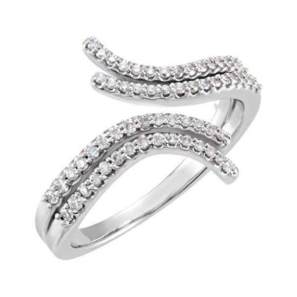 Diamond Bypass Ring in White Gold