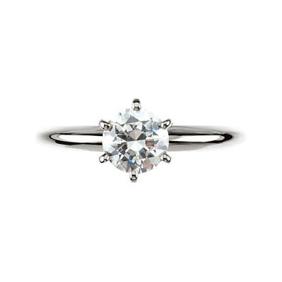 14kt White Gold Round 6-Prong Comfort-Fit Solitaire Setting Top View