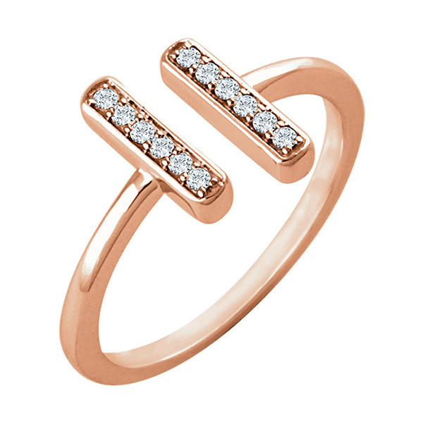 Rose Gold Diamond Bar Ring