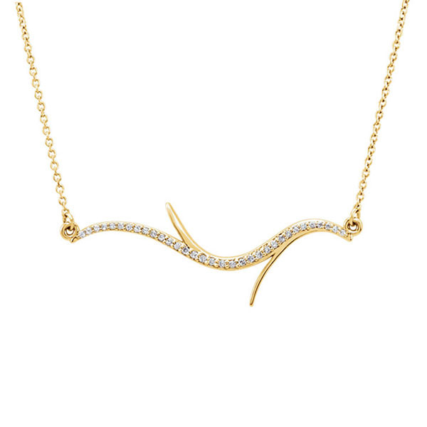 Yellow Gold Branch Necklace with Diamonds